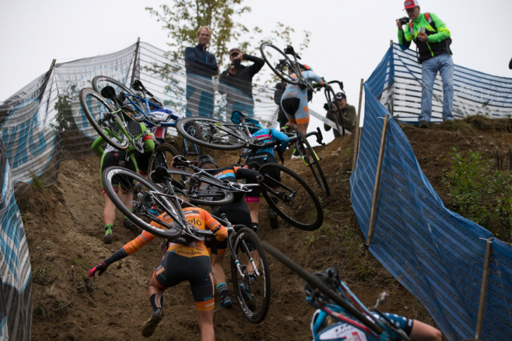 The perilous drop in Saturday's race was reinvented as a near-impossible run-up for Sunday. Photo: Wil Matthews